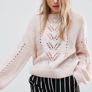 ASOS New Look Balloon Sleeve Sweater Light Pink